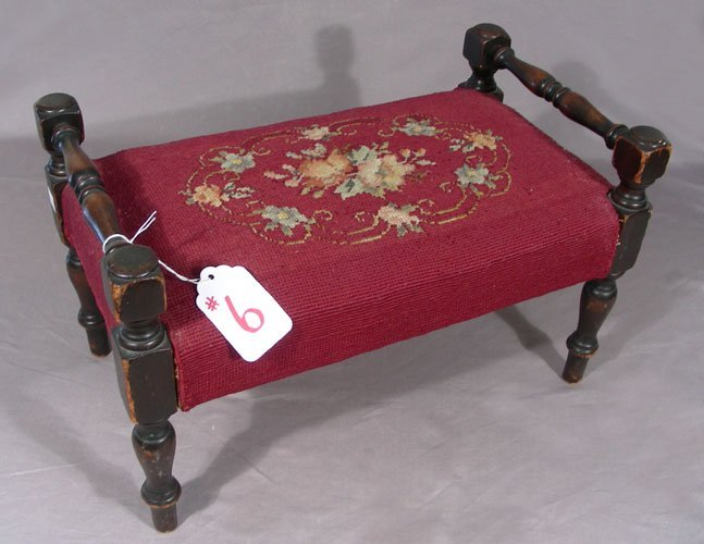 ANTIQUE HAND CARVED AND WOOD NEEDLEPOINT FOOT STOOL