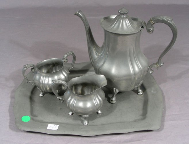 VINTAGE FOUR PIECE PEWTER TEA SET