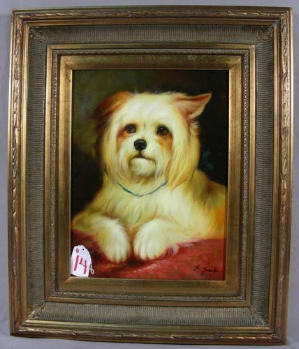 ORIGINAL OIL ON CANVAS:  PORTRAIT OF PUPPY