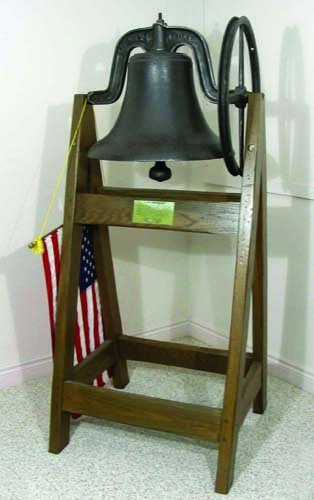 LATE 19TH C. CAST IRON BELL & YOKE ON TALL WOODEN STAND