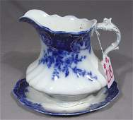 ANTIQUE ENGLISH FLOW BLUE PITCHER  TRAY