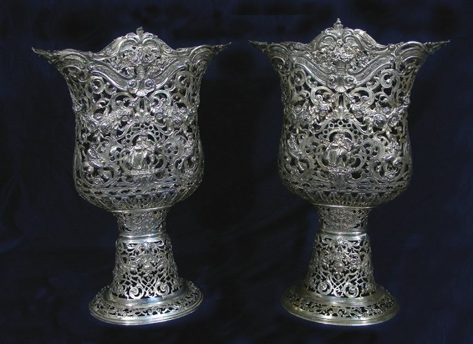 PAIR RARE ANTIQUE STERLING SILVER OPEN WORK FIGURAL