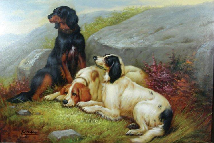 ORIGINAL OIL ON CNAVAS:  THREE DOGS