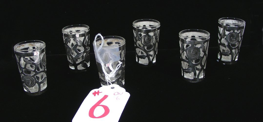 SET OF SIX VINTAGE SHOT GLASSES WITH STERLING SILVER