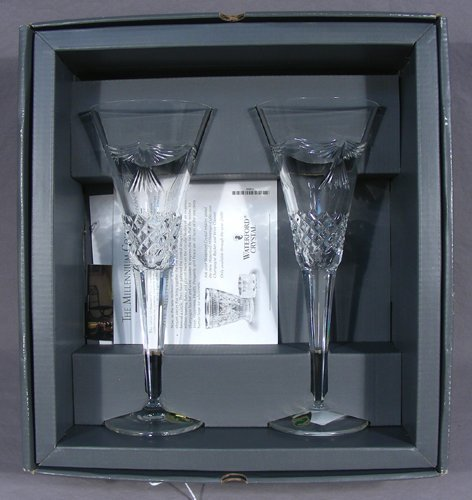 PAIR CASED WATERFORD CRYSTAL CHAMPAGNE GLASSES