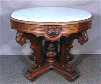 ANTIQUE HAND CARVED WOODEN TABLE WITH MARBLE TOP