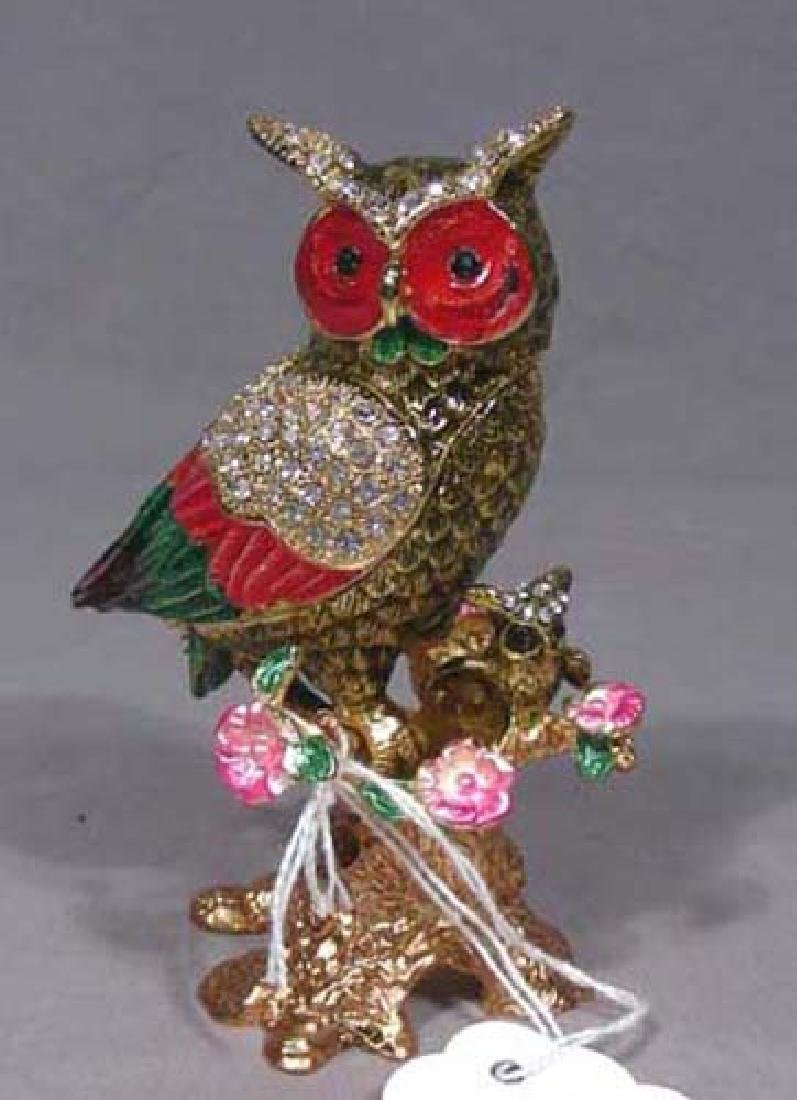 METAL, ENAMEL AND RHINESTONE OWL TRINKET BOX