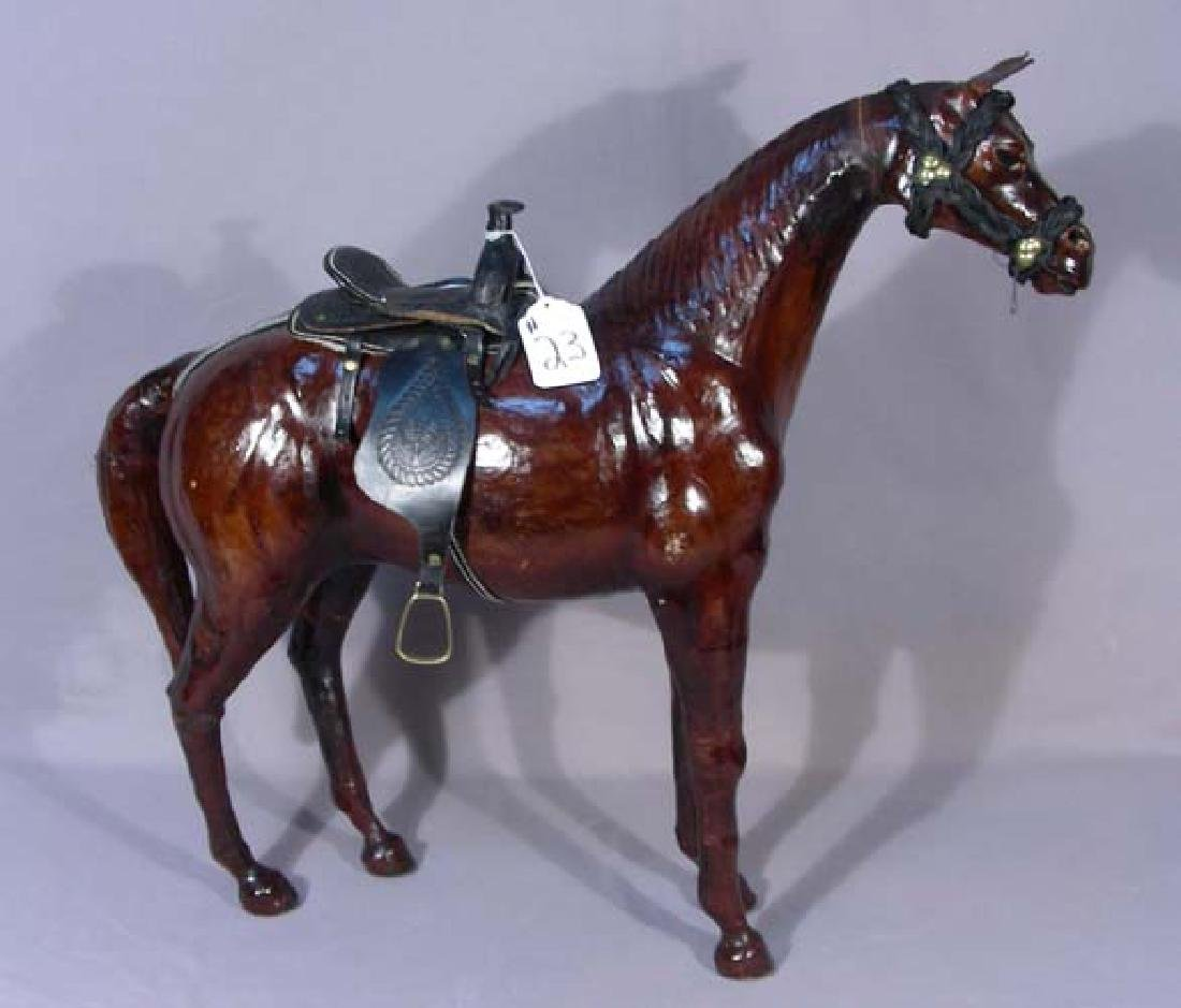 FINE LEATHER SCULPTURE OF STANDING HORSE