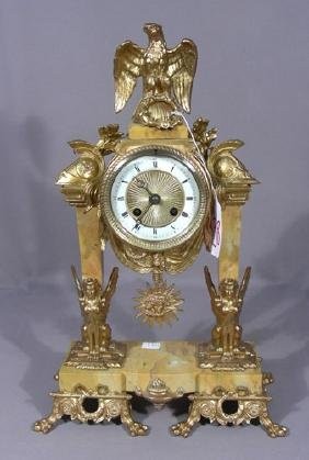 VINTAGE FRENCH GILT AND MARBLE MANTLE CLOCK