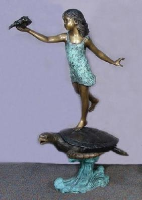 LIFE SIZE BRONZE SCULPTURE/FOUNTAIN OF YOUNG GIRL