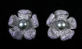 PAIR LADIES 18K W.G., TAHITIAN PEARL AND DIAMOND
