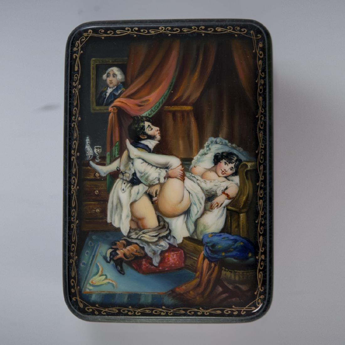 Russian Lacquered Papier Mache Erotic Box