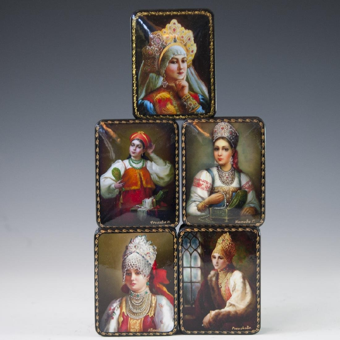 Russian Lacquered Papier Mache Boxes