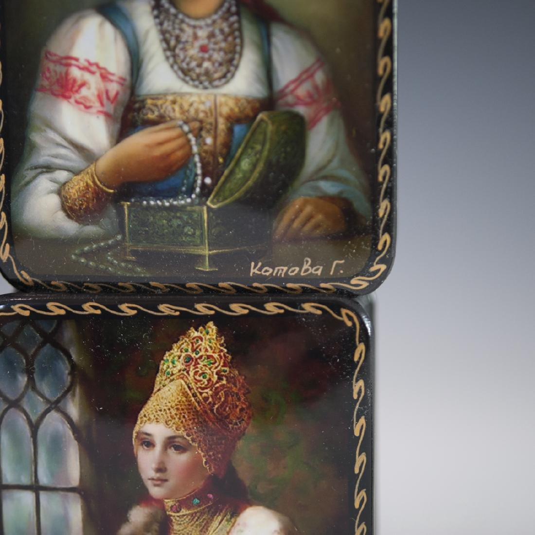 Russian Lacquered Papier Mache Boxes - 3