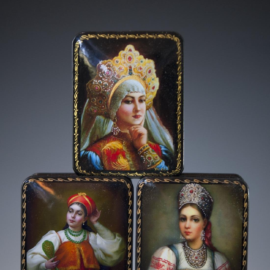 Russian Lacquered Papier Mache Boxes - 4