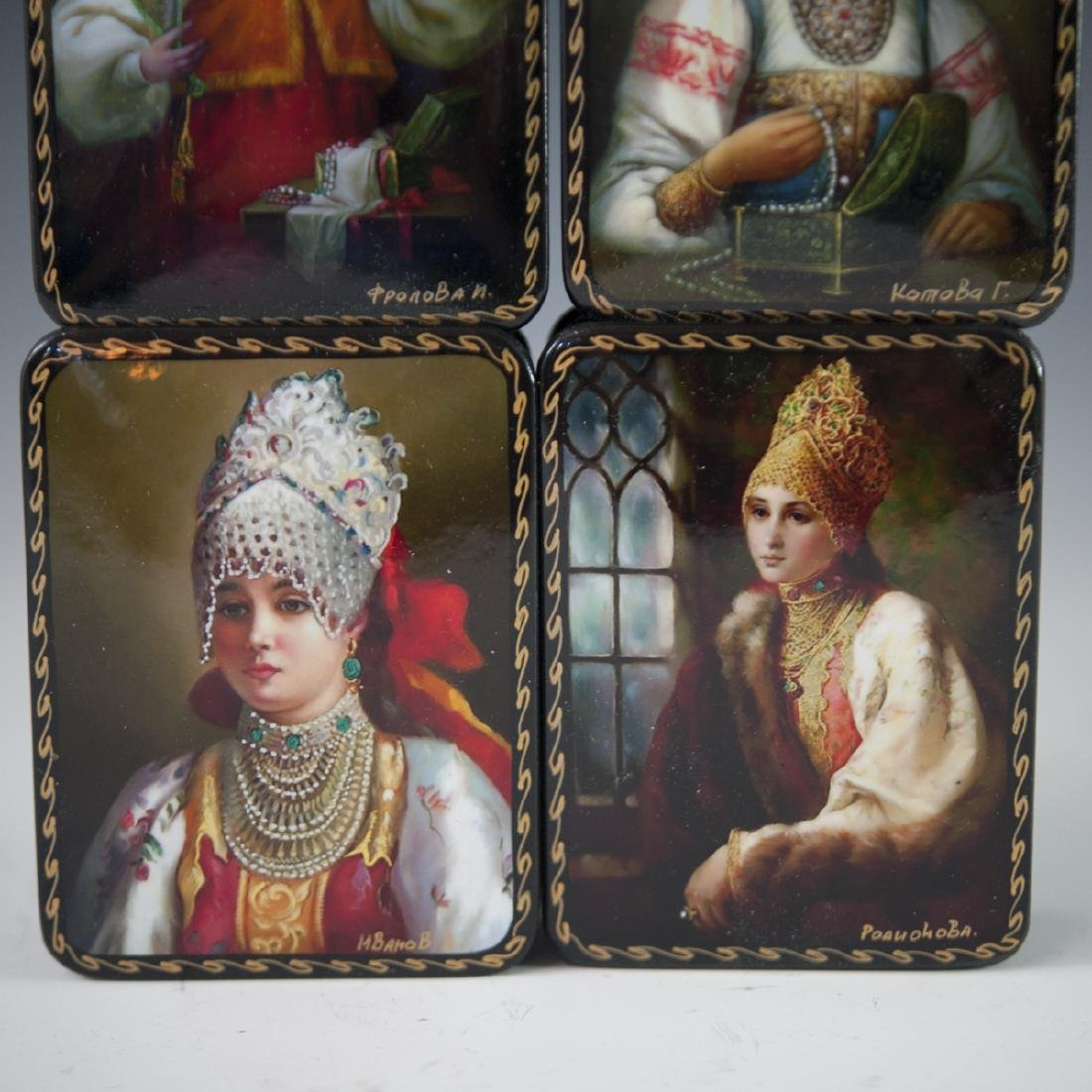 Russian Lacquered Papier Mache Boxes - 5