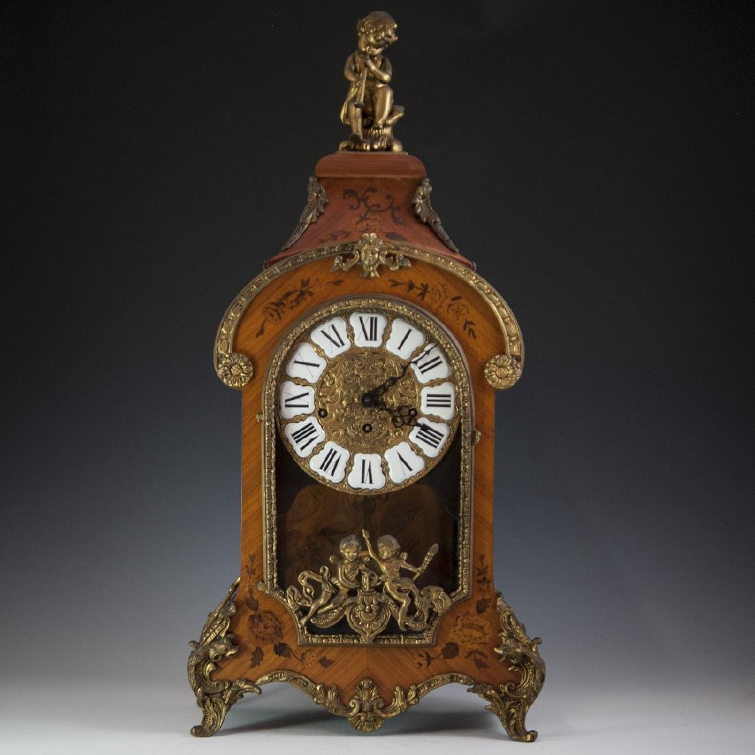 Franz Hermle and Sohn Marquetry & Bronze Mantel Clock - 10