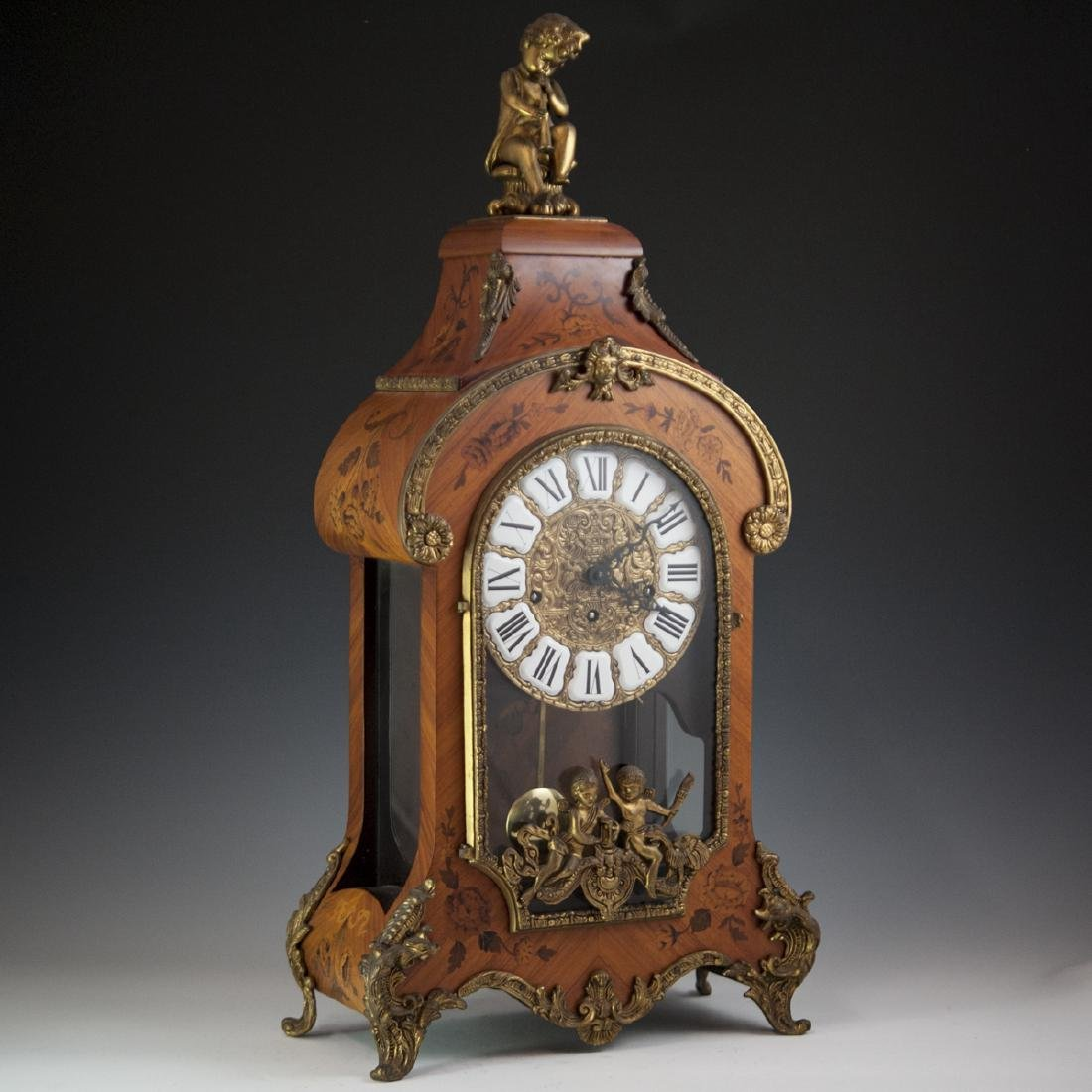 Franz Hermle and Sohn Marquetry & Bronze Mantel Clock - 11