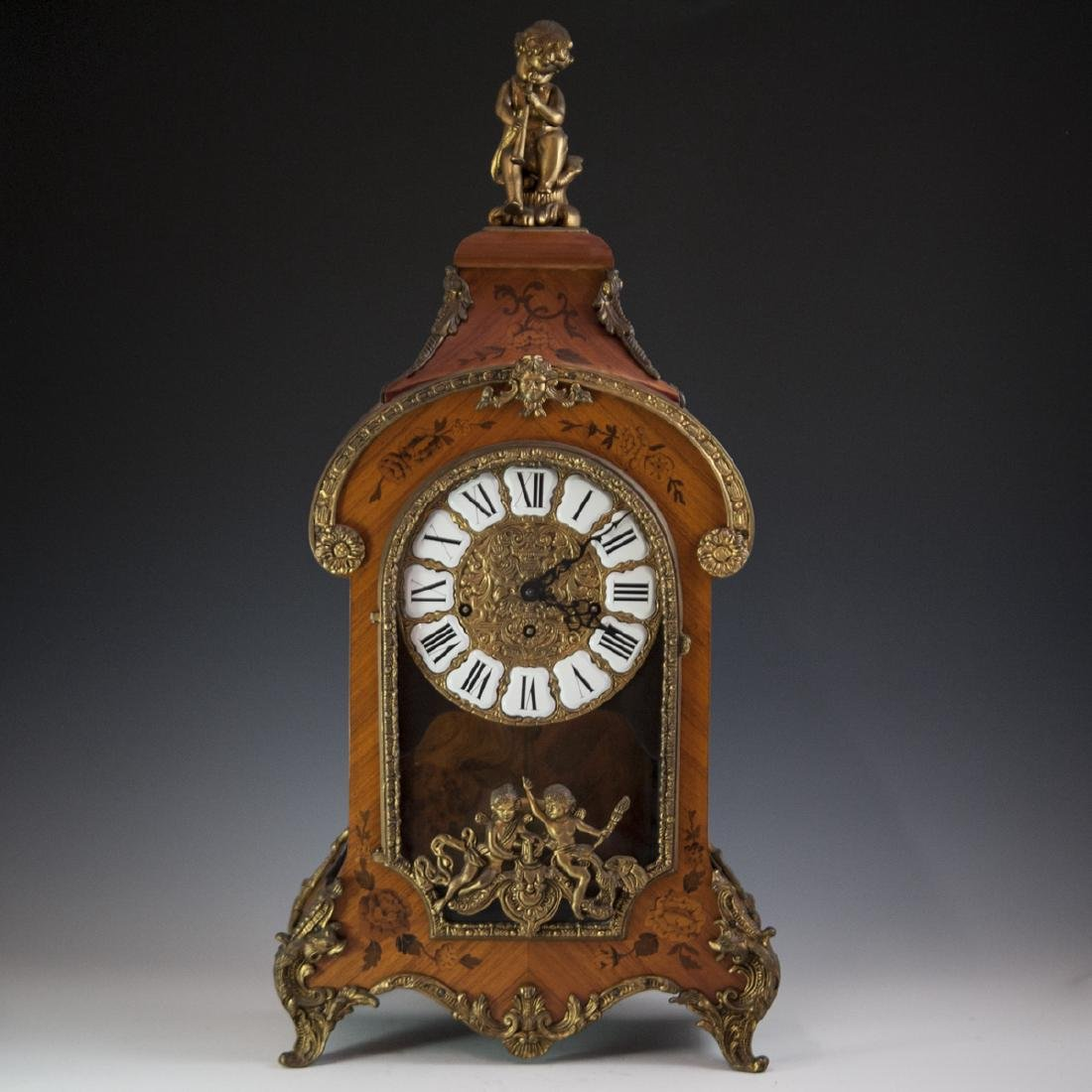 Franz Hermle and Sohn Marquetry & Bronze Mantel Clock