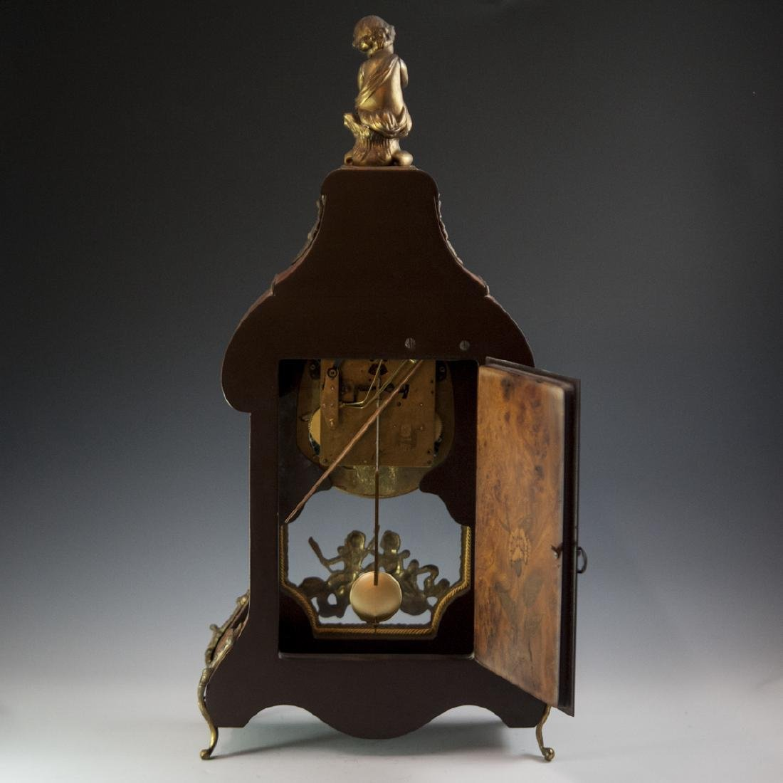 Franz Hermle and Sohn Marquetry & Bronze Mantel Clock - 2
