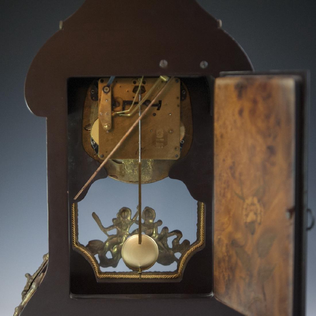Franz Hermle and Sohn Marquetry & Bronze Mantel Clock - 4