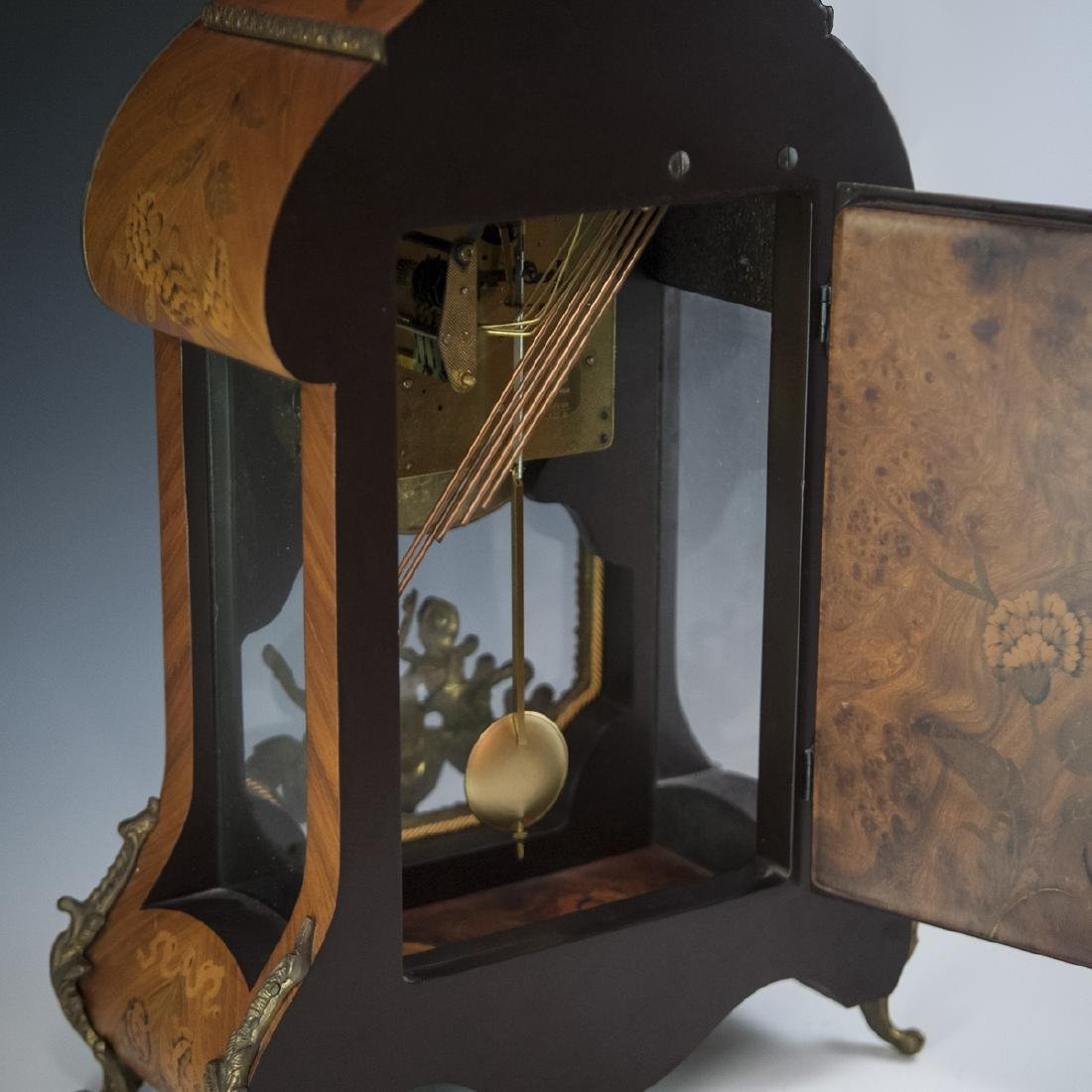 Franz Hermle and Sohn Marquetry & Bronze Mantel Clock - 5