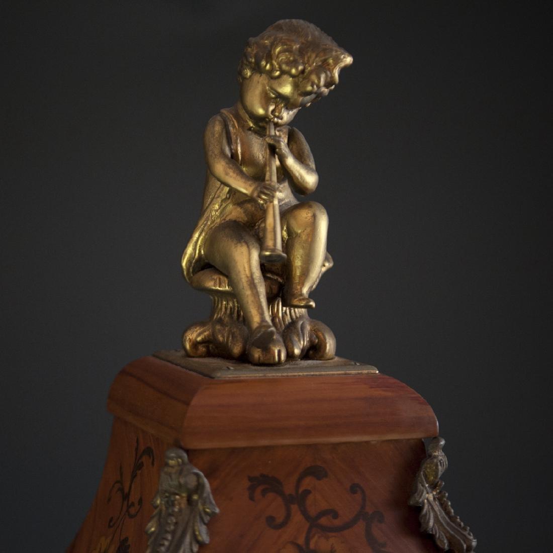Franz Hermle and Sohn Marquetry & Bronze Mantel Clock - 7