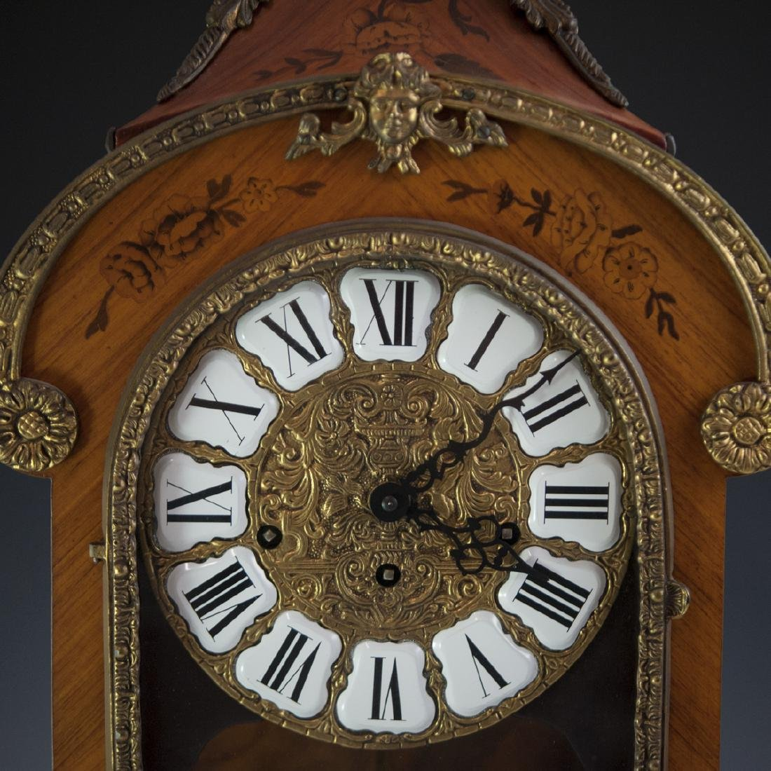 Franz Hermle and Sohn Marquetry & Bronze Mantel Clock - 8