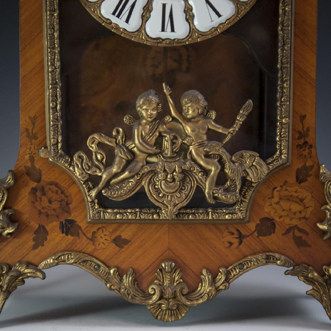 Franz Hermle and Sohn Marquetry & Bronze Mantel Clock - 9