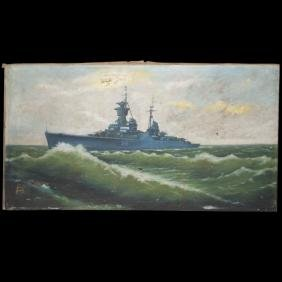 "Russian Naval Oil On Canvas Signed:""lusenco"""