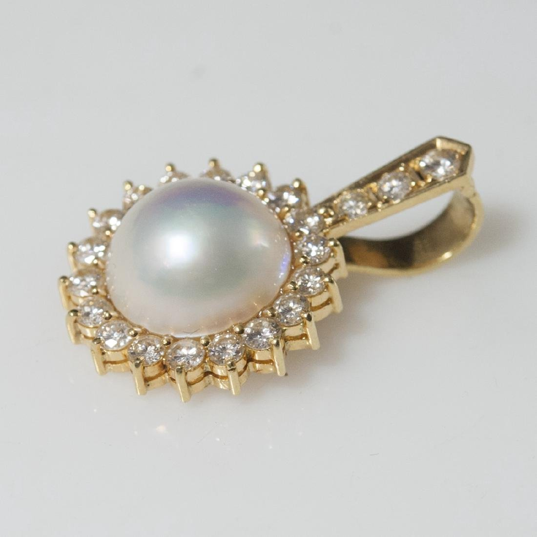 18kt Gold Diamond & Pearl Pendant - 2