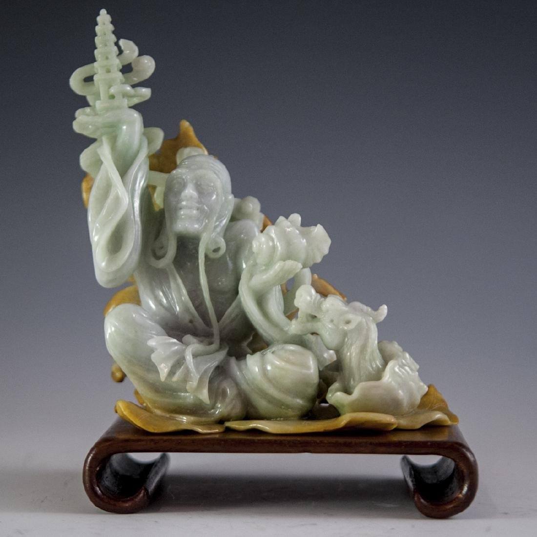 Chinese Carved Figural Jade Wiseman