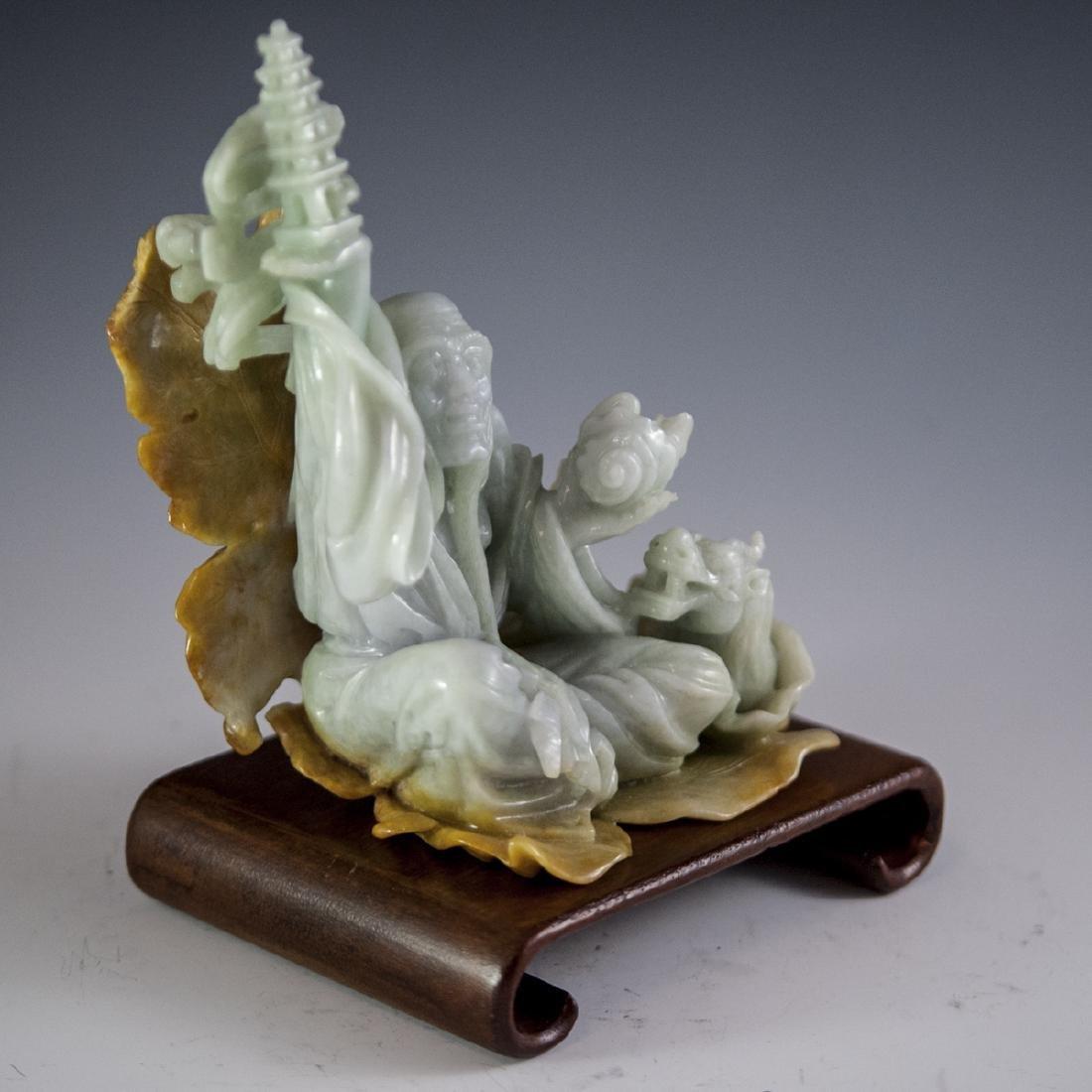 Chinese Carved Figural Jade Wiseman - 2