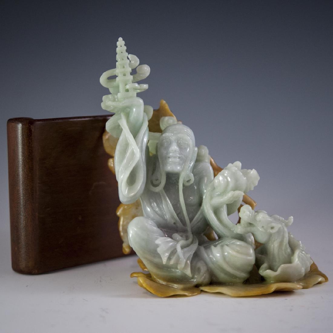 Chinese Carved Figural Jade Wiseman - 4