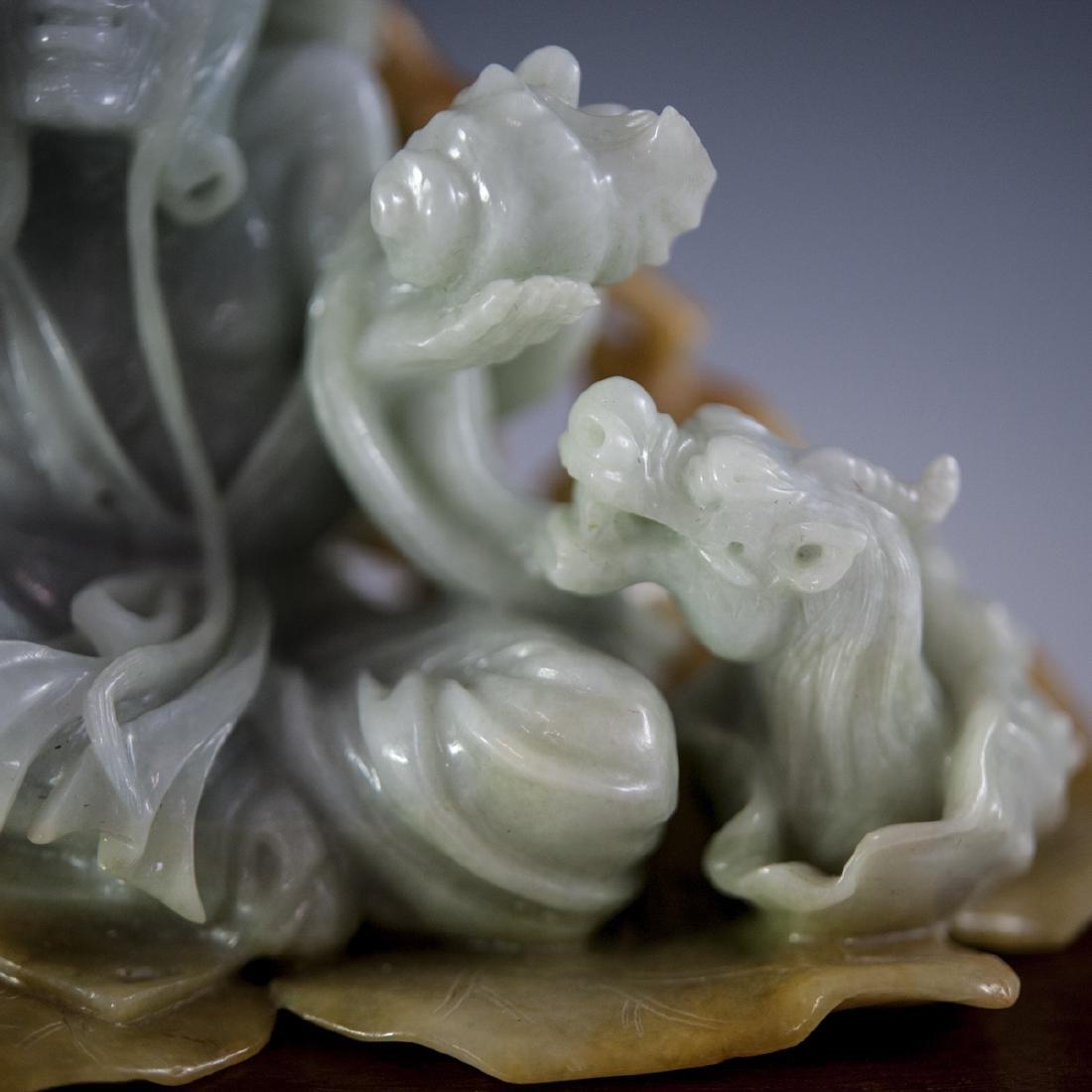 Chinese Carved Figural Jade Wiseman - 7