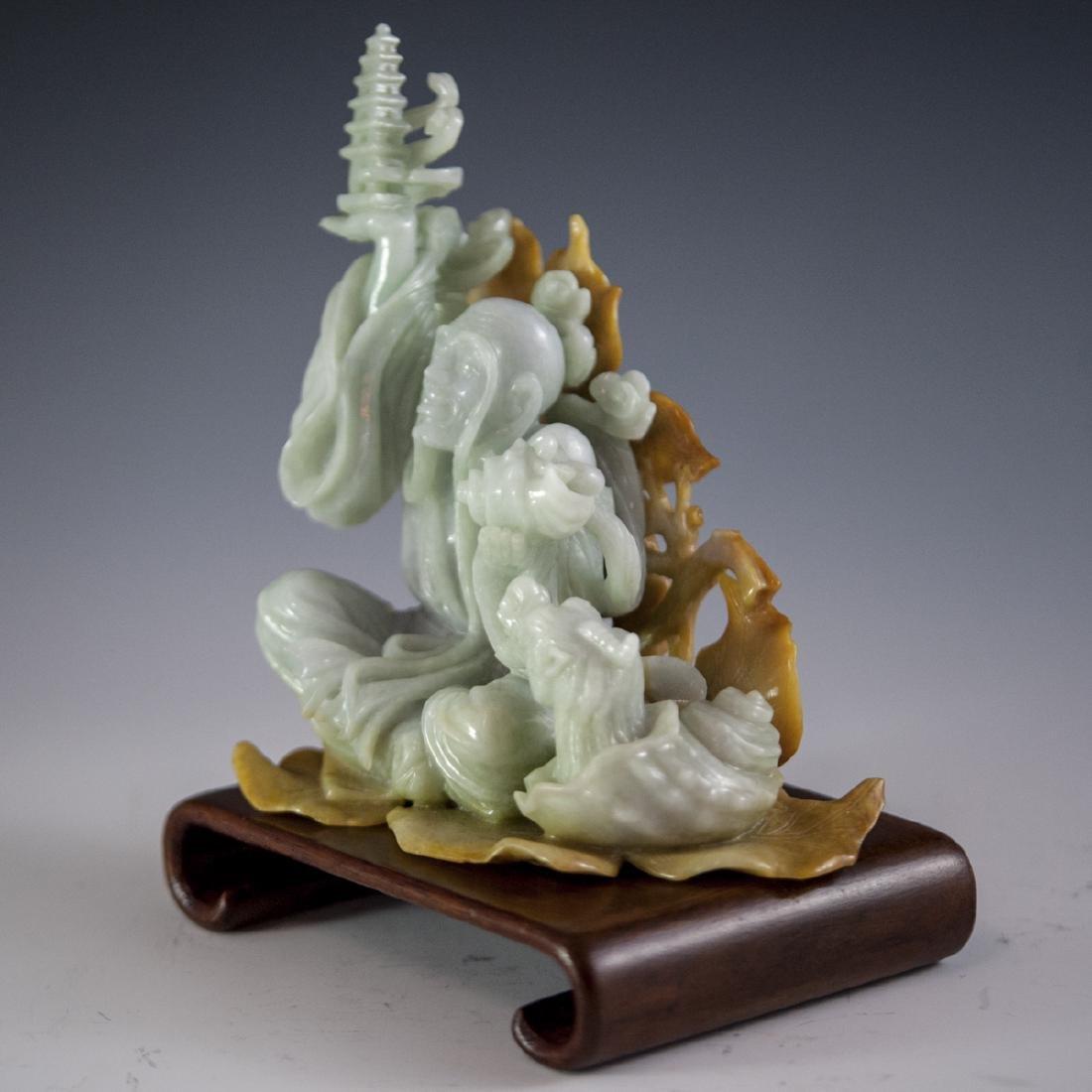Chinese Carved Figural Jade Wiseman - 9