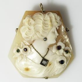 Victorian Gold Diamond Sapphire Emerald & Ruby Cameo