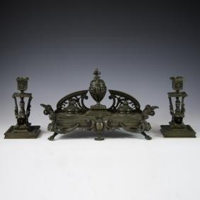 Antique French Bronze Gothic Inkwell Garniture