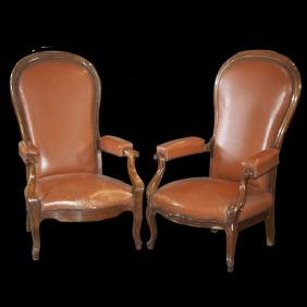 Vintage Wooden Leather Recliner Arm Chairs