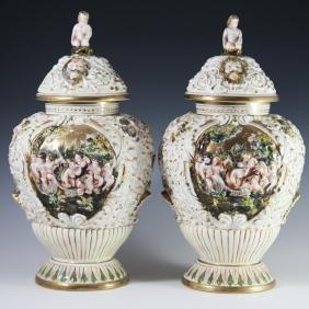 Capodimonte Porcelain Urns
