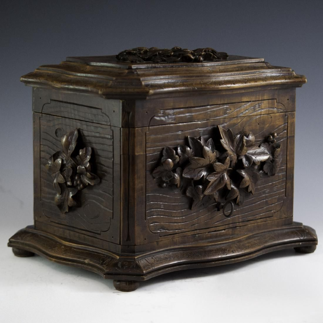 Antique Carved Wooden Cigar Box