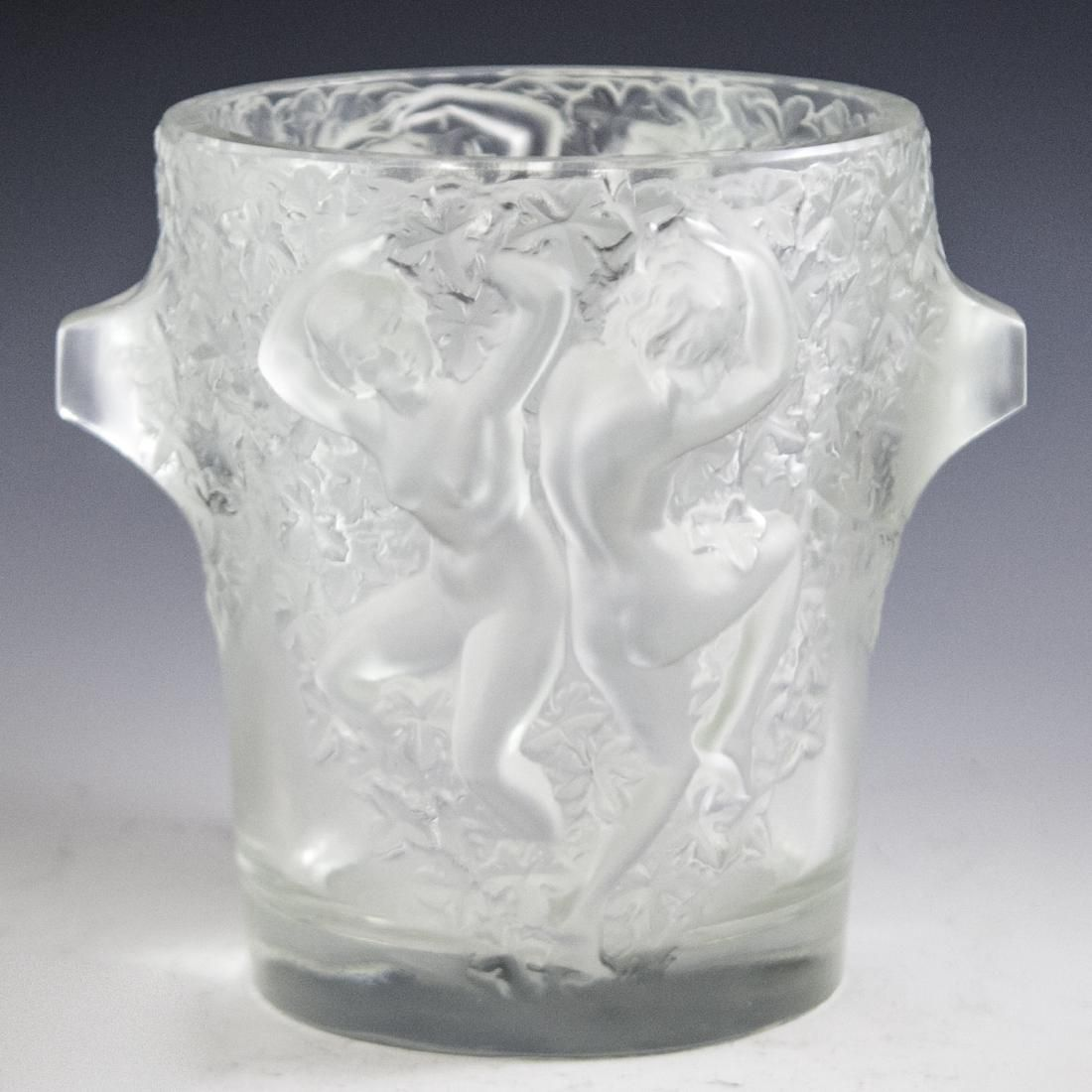 """Lalique Frosted Crystal """"Ganymede"""" Ice Bucket"""