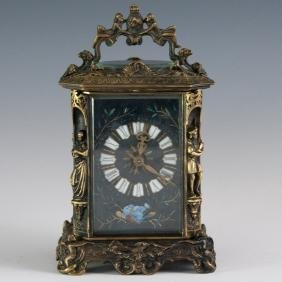 French Enameled Dore Bronze Figural Carriage Clock