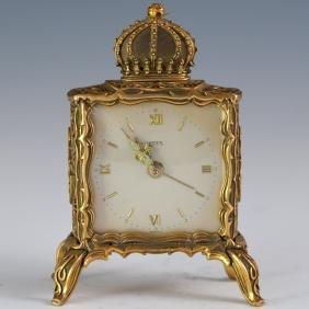 Emes German Dore Bronze Enamel Alarm Clock