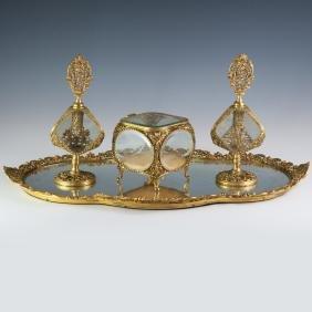 Globe 24kt Gold Plated Vanity Set