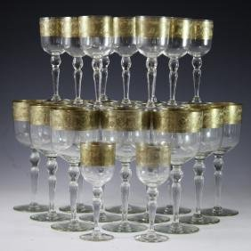 24kt Gold Overlay Crystal Glass Set