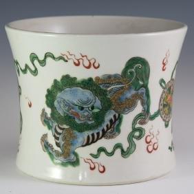 Chinese Porcelain Kangxi Wucai Brushpot