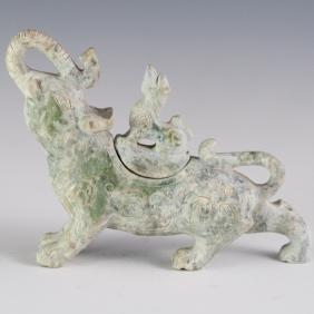 Han Dynasty Style Carved Jade Gajasimha Censer