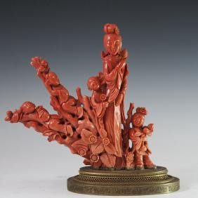 Antique Chinese Coral Figural Group