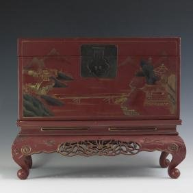 Chinese Lacquered Wooden Trunk